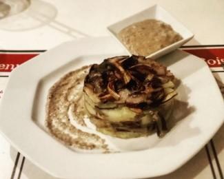 tortino patate e trevisana con salsa allo zola